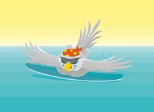 Parrot - a carefree surfer in the water. This warm illustration of carefree parrot at the resort Royalty Free Stock Photos