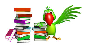 Parrot cartoon character with books. 3d rendered illustration of Parrot cartoon character with books Stock Photos