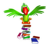 Parrot cartoon character  with books Royalty Free Stock Photo