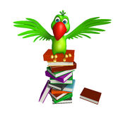 Parrot cartoon character with books. 3d rendered illustration of Parrot cartoon character with books Royalty Free Stock Photography