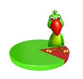 Parrot cartoon character with circle sign Stock Images