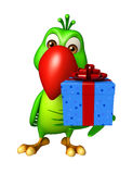 Parrot cartoon character with giftbox Stock Photography