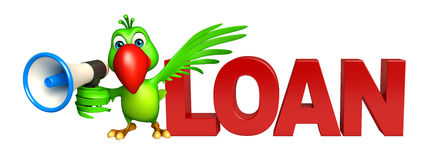 Parrot cartoon character with loud speaker  and loan sign Stock Photos