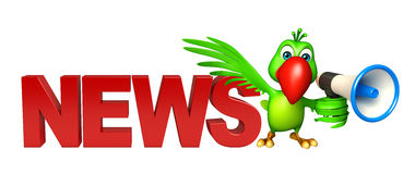 Parrot cartoon character with loud speaker  and news sign Royalty Free Stock Images
