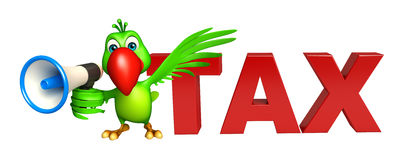 Parrot cartoon character with loud speaker and tax sign Stock Image