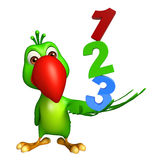 Parrot cartoon character with 123 sign Royalty Free Stock Photos