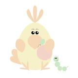Parrot and Caterpillar Happy. Funny cartoon happy parrot and his caterpillar friend Stock Photography