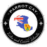 Parrot Cay circular patriotic badge. Royalty Free Stock Image