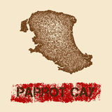 Parrot Cay distressed map. Royalty Free Stock Images