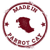 Parrot Cay seal. Vintage island map sticker. Grunge rubber stamp with Made in text and map outline, vector illustration Stock Photos