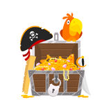 Parrot and chest of gold Stock Image