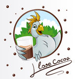 Parrot with cocoa drink Royalty Free Stock Image