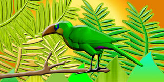 Parrot. Colored parrot and tropical  forest  of leaves Royalty Free Stock Photography
