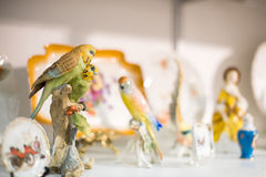Parrot couple porcelain figurine Royalty Free Stock Photography