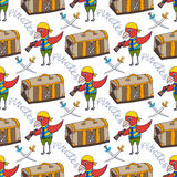 Parrot doodle seamless pattern background with pirate chest. Childish print Stock Image