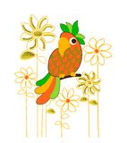 Parrot and flower pattern, tee shirt print vector illustration