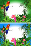 Parrot Frame. Tropical background with flowers and a parrot in two alternative colors stock illustration
