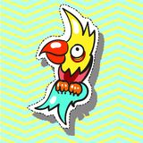 Parrot funny with smile Fashion patch badge pin sticker pop art style illustration Stock Photography