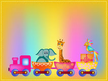 Parrot, giraffe, elephant  in train frame Royalty Free Stock Photo