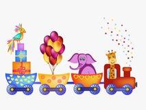 Parrot, giraffe, elephant  in train frame Royalty Free Stock Photography