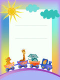 Parrot, giraffe, elephant  in train frame Stock Photo