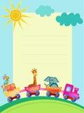 Parrot, giraffe, elephant  in train frame Stock Photography