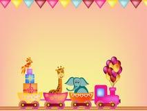 Parrot, giraffe, elephant in train frame Stock Images