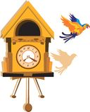 Parrot and hanging clock vector illustration