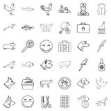 Parrot icons set, outline style. Parrot icons set. Outline style of 36 parrot vector icons for web  on white background Stock Image