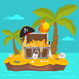 Parrot on island and chest of gold Royalty Free Stock Image