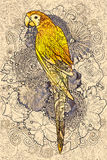Parrot line art with yellow colored on floral design element Royalty Free Stock Images