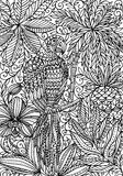 Parrot macaw and tropical plants coloring page Stock Photo