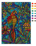 Parrot macaw and tropical plants. Vector coloring book Royalty Free Stock Image