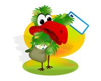 Parrot with mail bag, cdr vector royalty free stock images