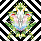 Parrot mirror tropical leaves black white geometric background royalty free illustration
