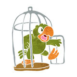 Parrot out of the cage Stock Photography
