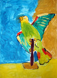 Parrot painted by child Royalty Free Stock Photo