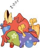 Parrot on pillows cartoon Stock Image