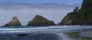 Parrot Rock, Pinnacle Rock and Heceta Head Lighthouse Royalty Free Stock Images