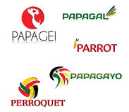 Parrot set of logos. Different languages Stock Image