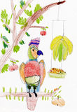 Parrot sitting on a branch. child drawing Royalty Free Stock Photo