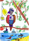 Parrot sitting on a branch. chils drawing. Parrot sitting on a branch. child's drawing Stock Photos