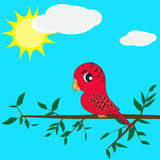 Parrot sitting on a branch. Vector of parrot sitting on branch Royalty Free Stock Photography