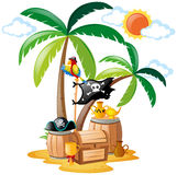 Parrot standing on pirate bird Royalty Free Stock Photo