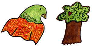 Parrot and Tree Clip art Stock Photo