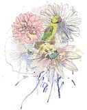 Parrot. Vector sketch of a parrot with flowers. Hand drawn illustration stock illustration