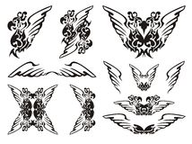 Parrot wings symbols.Black on the white Royalty Free Stock Image