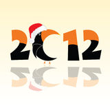 Parrot in 2012 year  illustration. In black and orange color Stock Photo