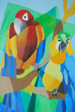 Parrots Abstract Wall Painting Stock Photography