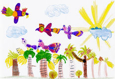 Parrots flying over palm trees. child drawing vector illustration